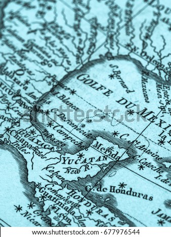 Map of yucatan stock images royalty free images vectors old map yucatan peninsula and gulf of mexico gumiabroncs Gallery