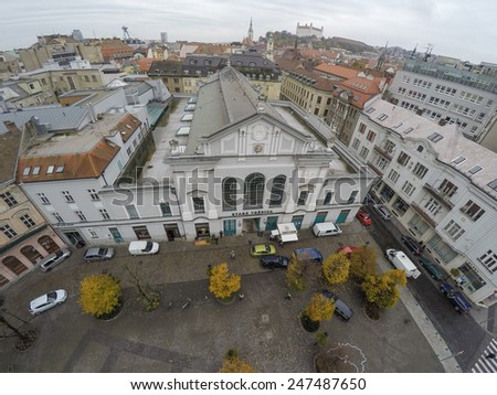 Old market in Bratislava as seen from above. - stock photo
