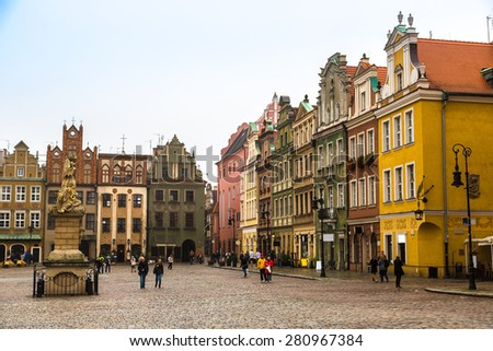 Old market square in Poznan in a summer day, Poland - stock photo