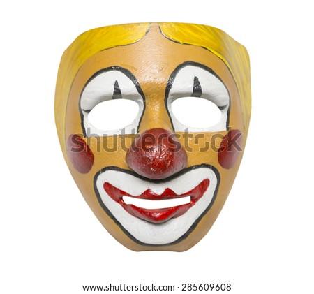 old mask, style retro on a white background, isolated - stock photo