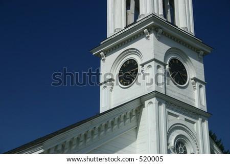 Old Massachusetts Church Clock Tower - stock photo