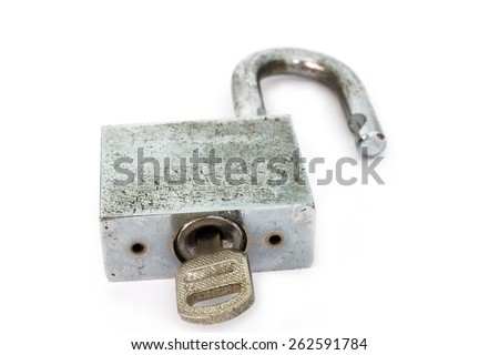 old master key rusty and key lock isolation - stock photo