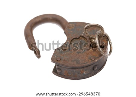 old master key rusty and key lock isolation - stock photo