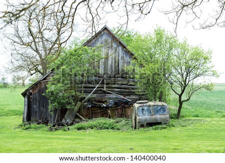 old meadow barn - stock photo