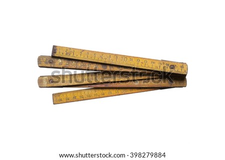 Old measure tool isolated on white background - stock photo