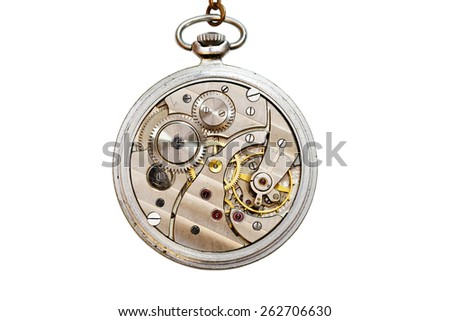 Old mechanic pocket watch open for repair. Isolated on white. - stock photo