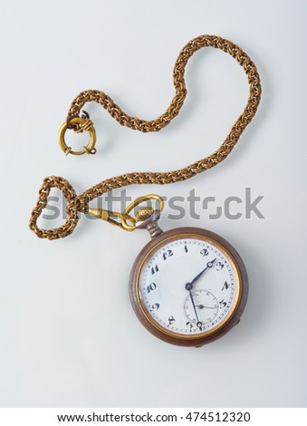 Old mechanical pocket watch with chain