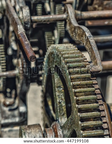 Old mechanism of a big tower clock - stock photo