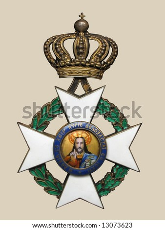 Old medal, approximately 1910-1930, isolated, with clipping path - stock photo
