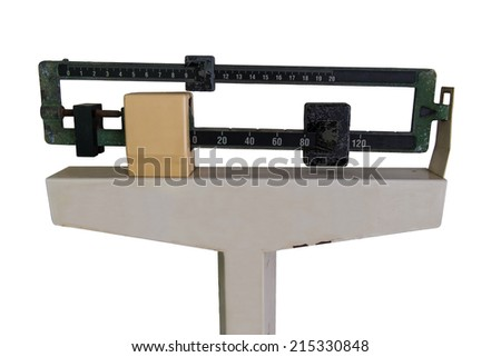 Old Medical Weight Scale isolated on white - stock photo