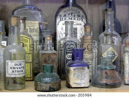 Old Medicine Bottles - stock photo