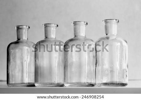 old medicine bottles - stock photo