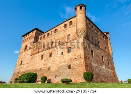 Old medieval castle in Piedmont, Northern Italy. - stock photo