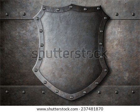 old medieval coat of arms shield over armour background - stock photo