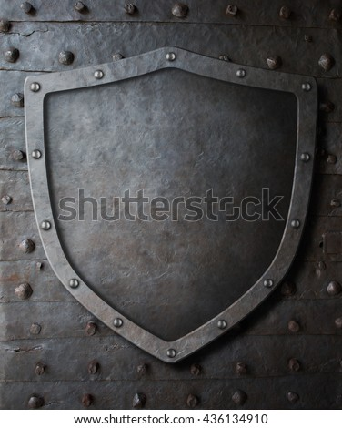 old medieval coat of arms shield over metal door background 3d illustration - stock photo