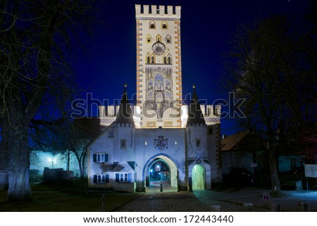 Old medieval gate in the center of Landsberg am Lech, beautiful village on the romantic road in Bavaria, Germany - stock photo