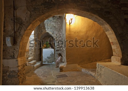 Old medieval streets at the Castle of Naxos island in Greece - stock photo