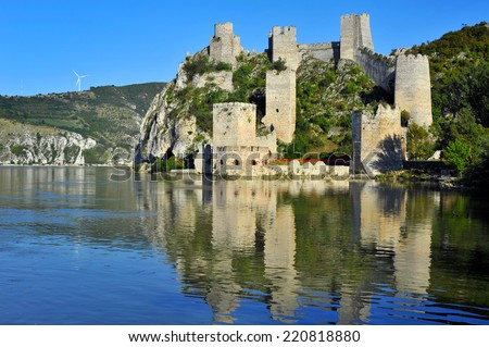 Old medieval town Golubac fortress, Serbia - stock photo