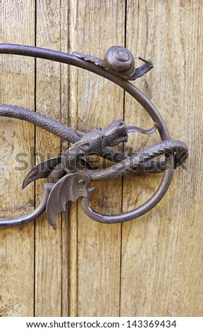 Old medieval vane, detail of a old metal, detail of decoration, vintage - stock photo