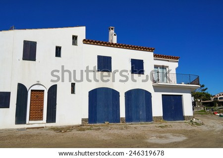 Old Mediterranean house in Spain, Cadaques, Costa Brava, Catalonia - stock photo