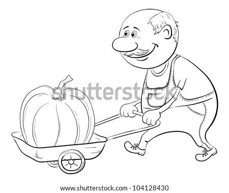 Old men gardener driven truck with pumpkin, black contour on white background - stock photo
