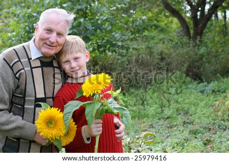 old men with boy outdoor