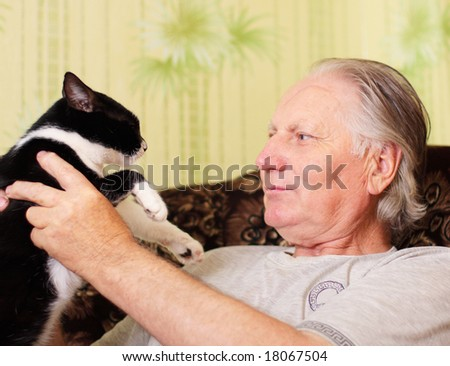 old men with cat