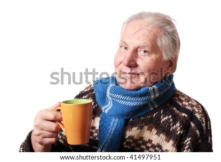 old men with cup - stock photo
