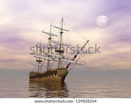 Old merchant ship on the ocean by cloudy weather with full moon