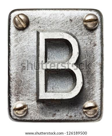 Old metal alphabet letter B - stock photo