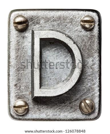 Old metal alphabet letter D - stock photo