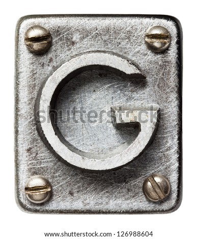 Old metal alphabet letter F - stock photo