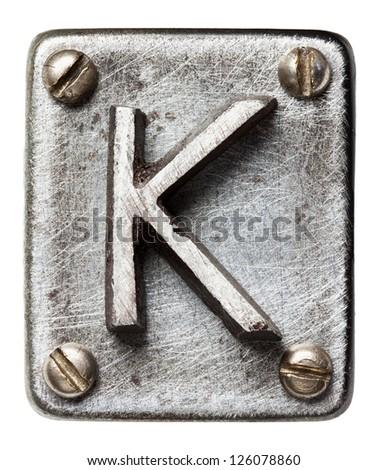 Old metal alphabet letter K - stock photo