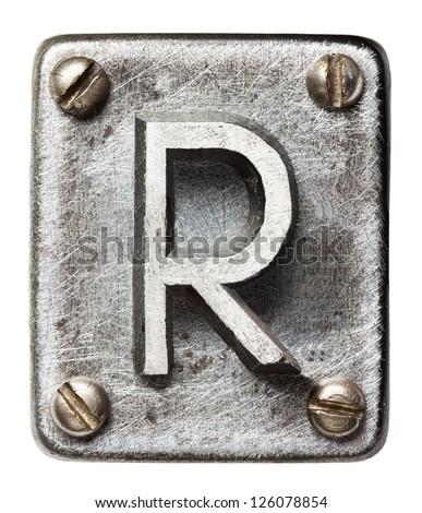 Old metal alphabet letter R - stock photo