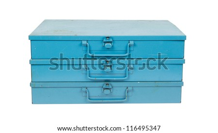 Old metal box isolated on white background