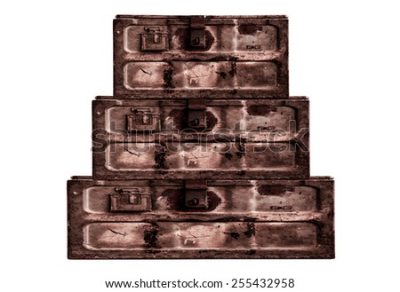 Old metal box isolated on white background,close up - stock photo