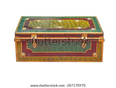 Old metal casket isolated included clipping path