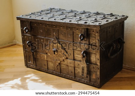 old metal chest - stock photo