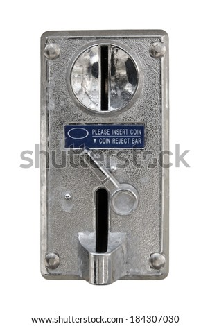 Old metal coin slot panel from a coin operated machine isolated on white - stock photo