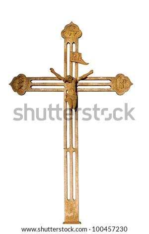 Old metal cross isolated on white background