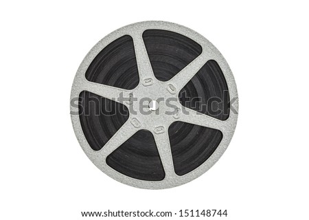 Old metal film reel isolated with clipping path. - stock photo