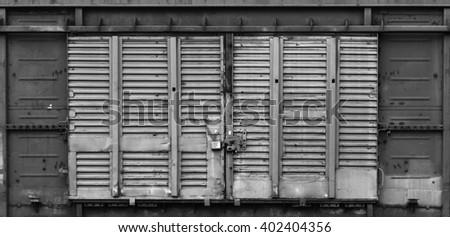 old metal freight wagon door hangar & Old Metal Freight Wagon Door Hangar Stock Photo (Safe to Use ...