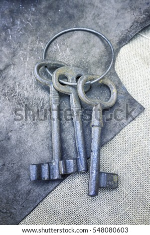 Old metal keys, detail of a classic metal keys, textured background