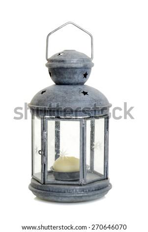 old metal lantern - stock photo