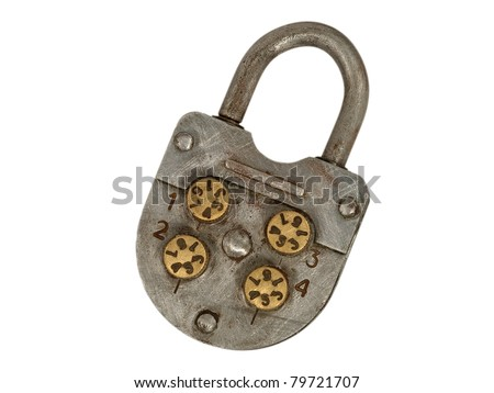 Old metal lock isolated on a white background. - stock photo