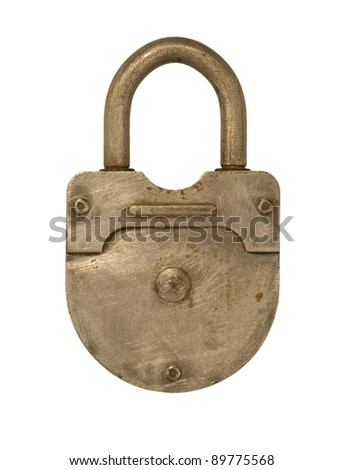 Old metal lock isolated on a white background.