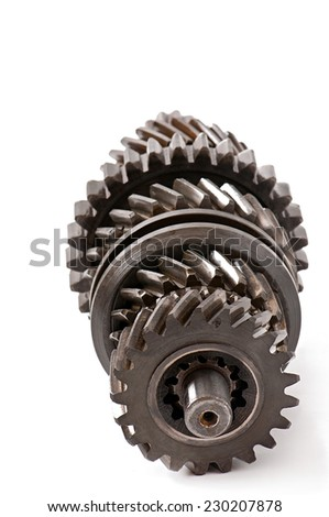 old metal parts gear isolated on white background