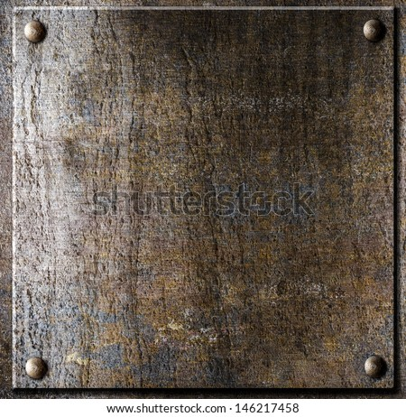 old metal plate with rivets - stock photo