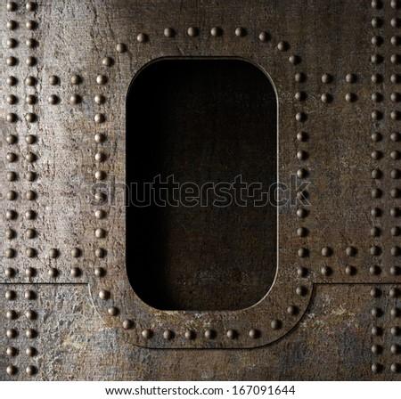 old metal porthole background - stock photo