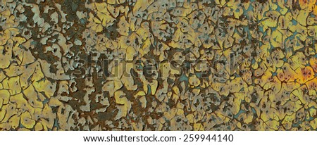 Old metal rusty background with cracked paint. Grunge background.  - stock photo